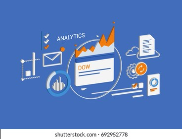 Analytics & business. Isometric concept. Infographic data analytics vector.