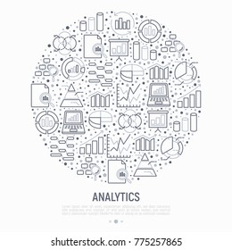 Analytics concept in circle with thin line icons: diagram, chart, statistics, pyramid, business analysis. Modern vector illustration for banner, web page, print media.