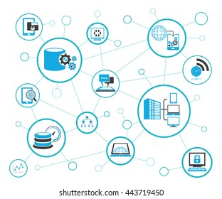analytics data icons and network diagram on white background, information technology concept
