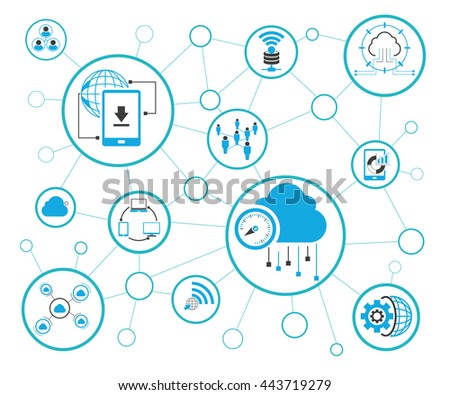 Analytics Data Icons Network Diagram On Stock Vector Royalty Free