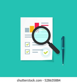 Analytics data research icon vector, analysis on paper sheet document via magnifier, statistics result with growth graph chart analyze, analyzing, audit verification process, report check, flat style