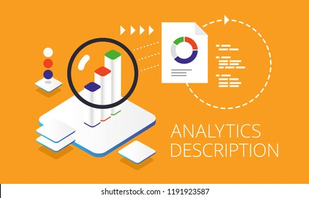 Analytics description. Flat design isometric concept. Landing page template.
