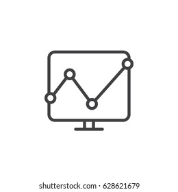 Analytics graph line icon, outline vector sign, linear style pictogram isolated on white. Symbol, logo illustration. Editable stroke. Pixel perfect