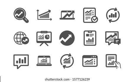Analytics icons. Reports, Charts and Graphs. Data statistics classic icon set. Quality set. Vector