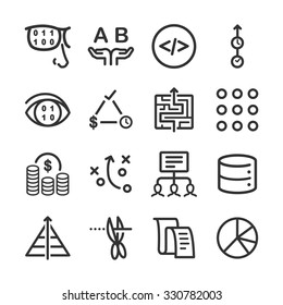 Analytics icons set. Included the icons as ab test, coding, data, code reviews, priority, budget and more.