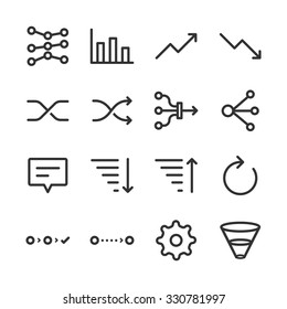 Analytics icons set. Included the icons as filter, sort, refresh, graph, navigation, flow and more.