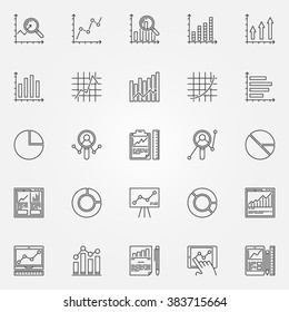Analytics icons set - vector data analysis signs in thin line style. Linear data analytic pictograms