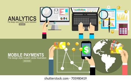 Analytics Information and Development Website Statistic. Mobile payments.Transaction and paypass and NFC. Vector illustration