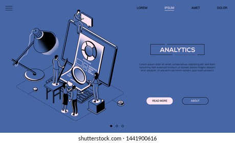 Analytics - line design style isometric web banner on blue background with copy space for text. A header with business team standing next to computer with diagram on screen, discussing the results
