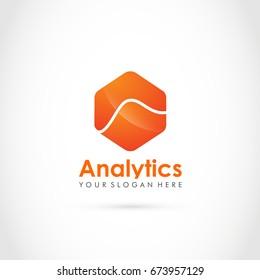 Analytics Logo Template. Hexagon concept. Vector illustration Eps.10