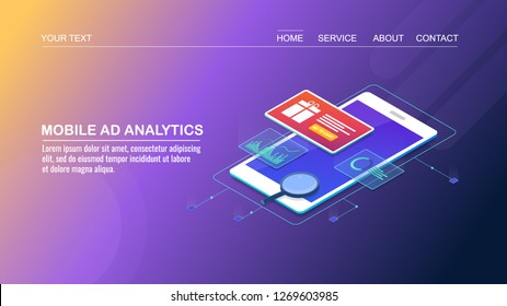Analytics for mobile advertising, mobile ad analysis, smart marketing campaign flat design 3D isometric vector