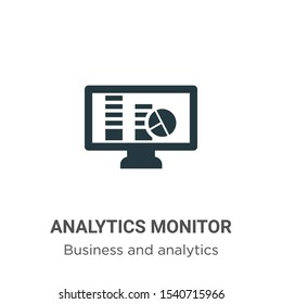 Analytics monitor vector icon on white background. Flat vector analytics monitor icon symbol sign from modern business and analytics collection for mobile concept and web apps design.