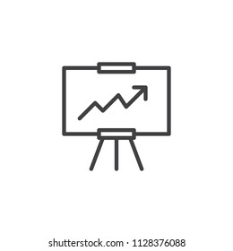 Analytics presentation board outline icon. linear style sign for mobile concept and web design. Whiteboard with growing chart simple line vector icon. Symbol, logo illustration. Pixel perfect vector