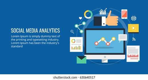 Analytics for social media marketing, social media management and optimization flat vector concept with icons isolated on blue background