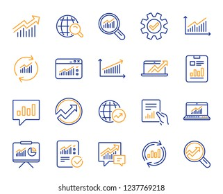 Analytics, Statistics line icons. Set of Chart, Report document and Graph icons. Data analytics, Presentation chart and Communication. Global Statistics, hold document and checklist report. Vector