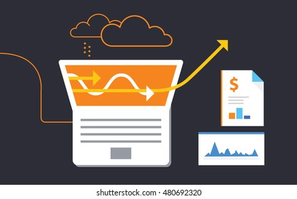 Analytics work for business. Vector illustration concept of analyzing project. Flat design.