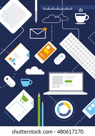 Analytics workspace background. Flat vector design illustration of modern business office and workspace. Background with laptop, digital devices, office objects and documents