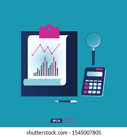 Analyze business data with office stationery element tool. Business concept vector illustration