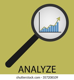 Analyze icon flat design. Analyzing business, management chart, magnifier search, strategy diagram. Vector art abstract unusual fashion illustration