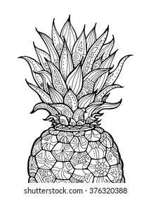 Ananas, pineapple, exotic fruit with floral pattern. Vector. Coloring book page for adult. Zentangle. Hand drawn artwork. Summer concept for party card, ticket, branding, logo, label. Black and white