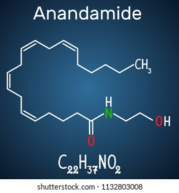 Anandamide molecule. It is endogenous cannabinoid neurotransmitter. Structural chemical formula and molecule model on the dark blue background. Vector illustration