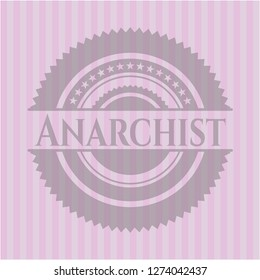 Anarchist badge with pink background