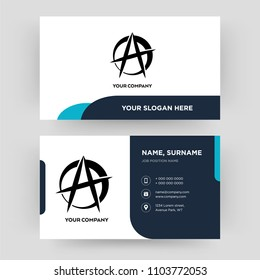anarchist, business card design template, Visiting for your company, Modern Creative and Clean identity Card Vector