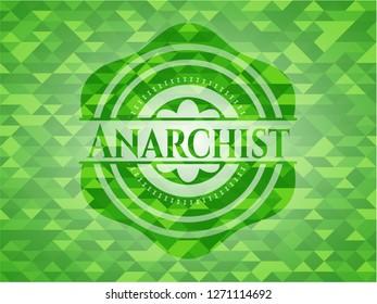Anarchist green emblem. Mosaic background