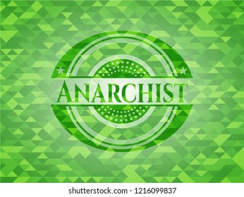Anarchist green emblem with mosaic ecological style background