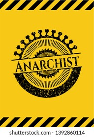 Anarchist grunge black emblem with yellow background, warning sign. Vector Illustration. Detailed.