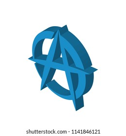 anarchist isometric right top view 3D icon