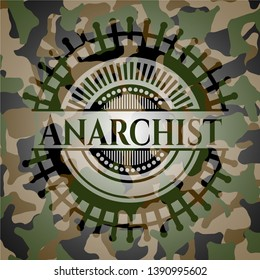 Anarchist on camouflage texture. Vector Illustration. Detailed.