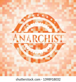 Anarchist orange tile background illustration. Square geometric mosaic seamless pattern with emblem inside.