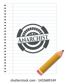 Anarchist penciled. Vector Illustration. Detailed.