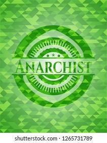 Anarchist realistic green mosaic emblem
