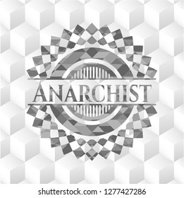 Anarchist realistic grey emblem with geometric cube white background
