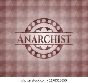 Anarchist red emblem with geometric pattern background. Seamless.