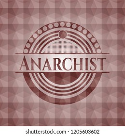 Anarchist red seamless emblem or badge with abstract geometric pattern background.