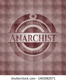 Anarchist red seamless emblem with geometric pattern.