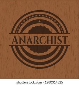 Anarchist retro style wood emblem