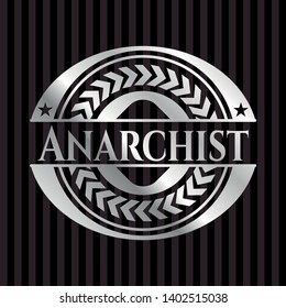 Anarchist silvery emblem or badge. Vector Illustration. Mosaic.