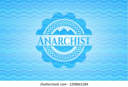 Anarchist sky blue water emblem background.