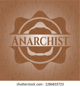 Anarchist wood icon or emblem