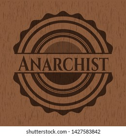 Anarchist wood icon or emblem. Vector Illustration.