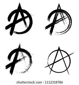 Anarchy brush symbol. Anarchy grunge style. Anarchy ink icon.