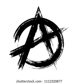 Anarchy brush symbol. Anarchy grunge style. Anarchy ink icon.
