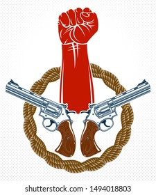 Anarchy and Chaos aggressive emblem or logo with strong clenched fist, vector vintage style tattoo, rebel rioter partisan and revolutionary.