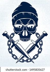 Anarchy and Chaos aggressive emblem or logo with wicked skull, vector vintage scull tattoo, rebel gangster criminal and revolutionary.