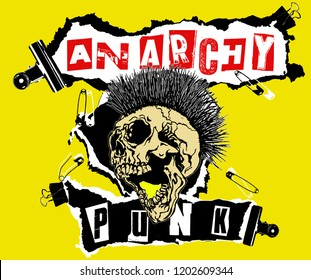 Anarchy Punk. Screaming skull head with mohawk hair isolated on yellow background.