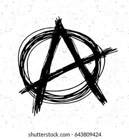 Anarchy sign hand drawn sketch. Textured grunge punk symbol. vector illustration